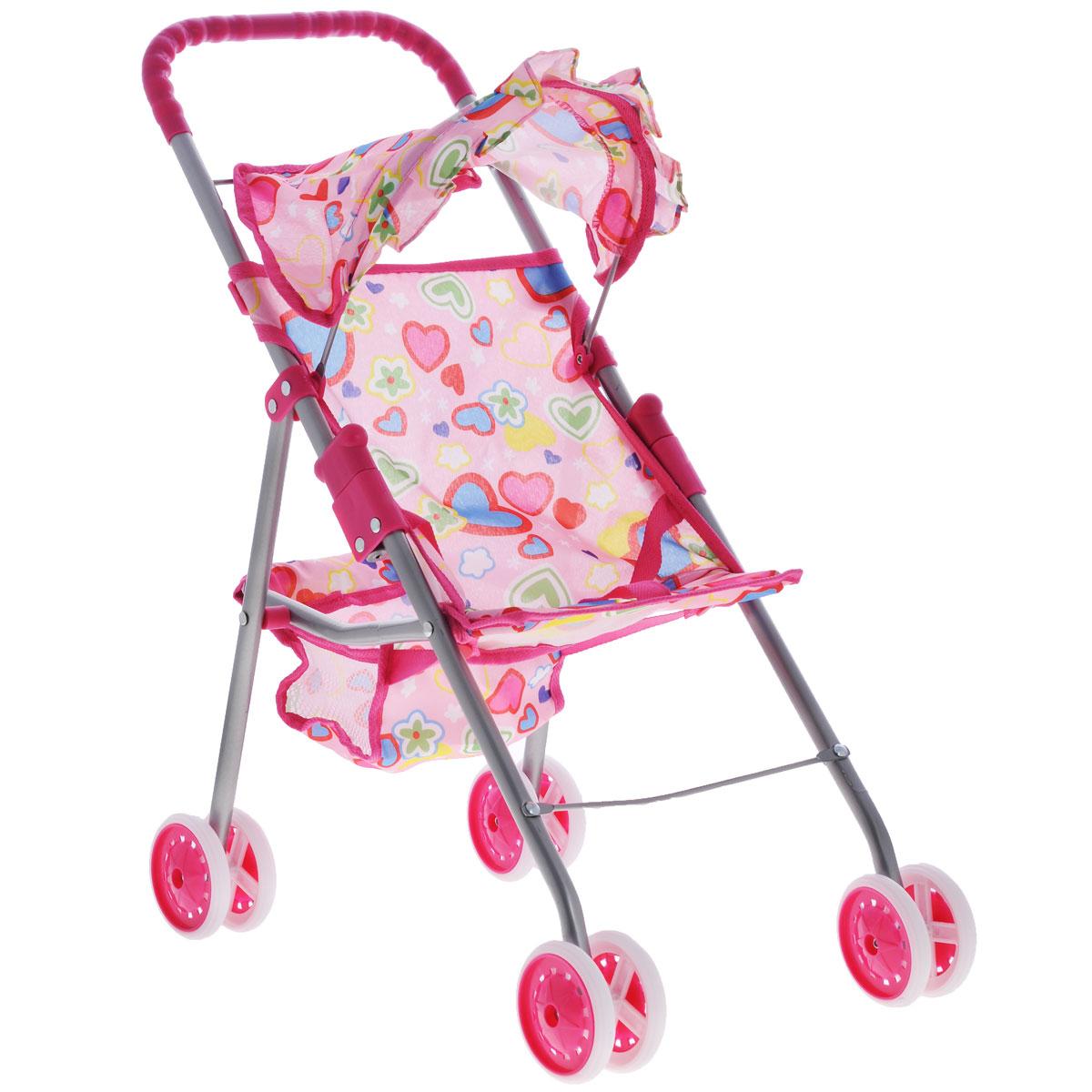 "Прогулочная коляска для кукол ""Melobo"", цвет: розовый с сердечками"