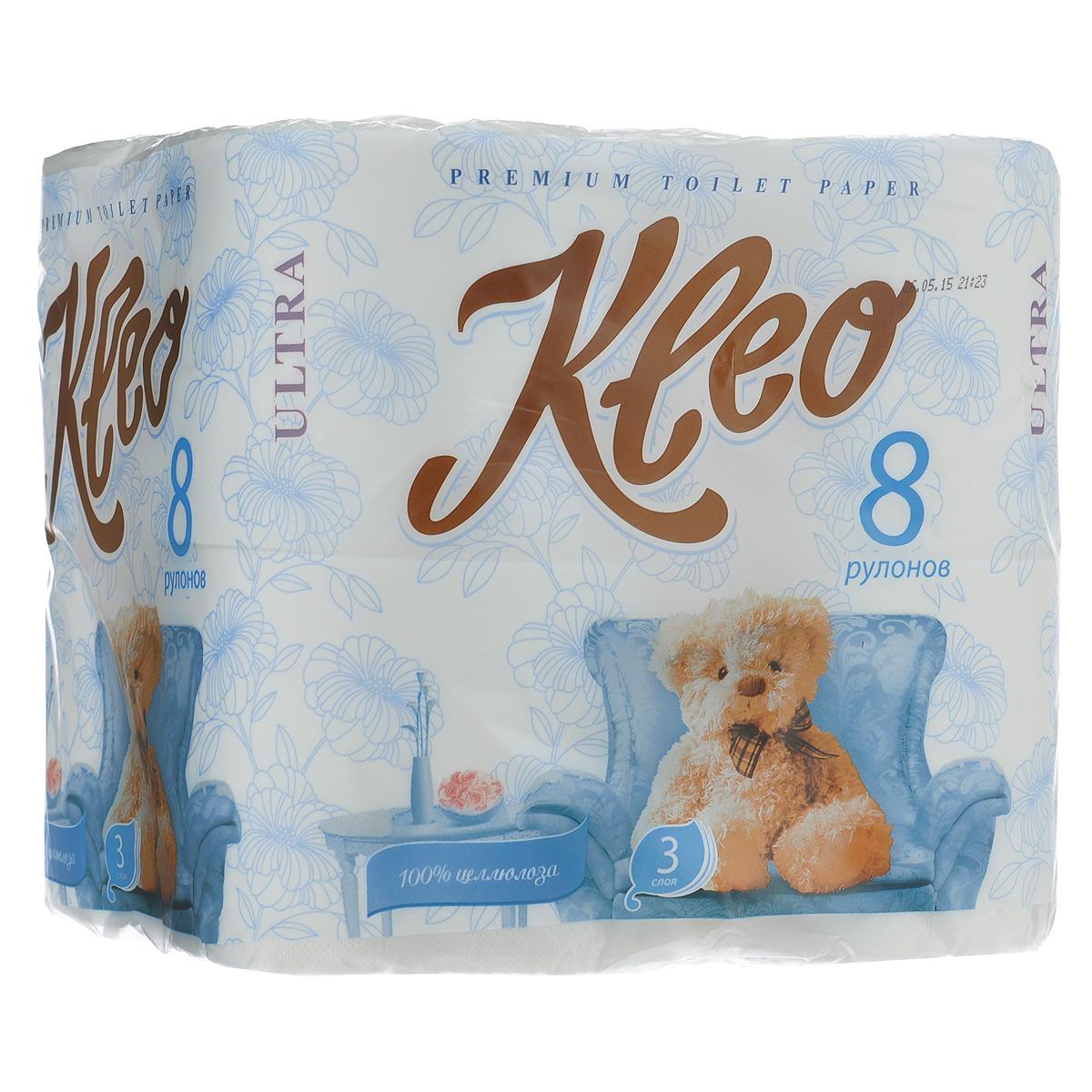 """Трехслойная туалетная бумага Мягкий знак """"Kleo Ultra"""", выполненная из натуральной целлюлозы с тиснением в виде бабочек, обеспечивает превосходный комфорт и ощущение чистоты и свежести. Она отличается необыкновенной мягкостью и прочностью. Бумага хорошо перфорирована, не расслаивается и отрывается строго по просечке.  Состав: 100% целлюлоза.  Размер листа: 12,5 см х 9,6 см.  Количество листов: 168 шт."""