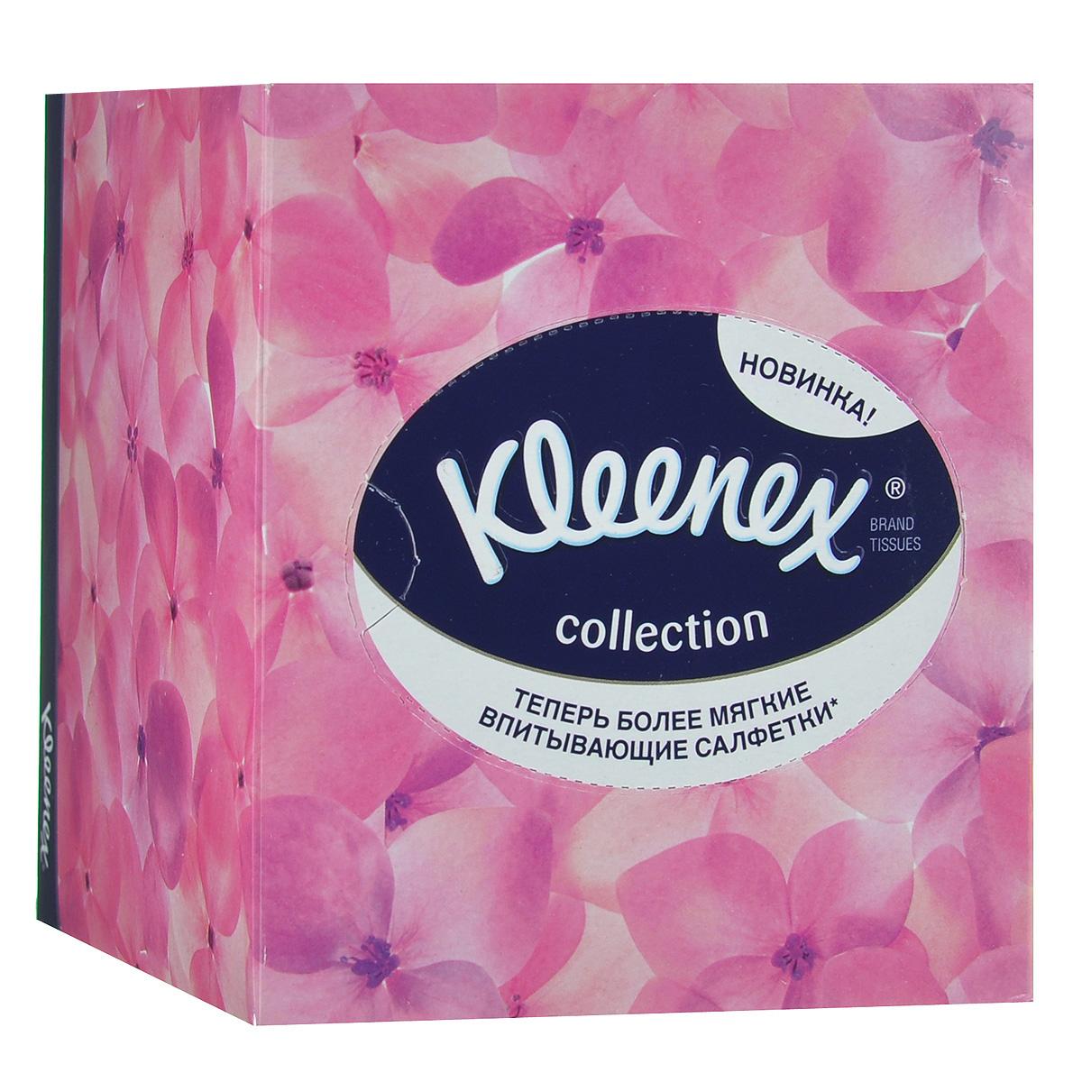 """Салфетки универсальные Kleenex """"Collection"""", двухслойные, 21,6 х 21,6 см, 100 шт (упаковка розовые цветы)"""