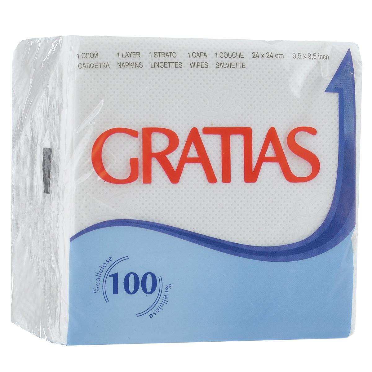 Салфетки бумажные Gratias, однослойные, 24 х 24 см, 90 шт90243Однослойные бумажные салфетки Gratias мягкие, но в то же время прочные. Они оформлены тиснением в виде бабочек. Подходят для косметического, санитарно-гигиенического и хозяйственного назначения. Обладают хорошими впитывающими свойствами. Материал: 100% целлюлоза. Размер салфетки: 24 см х 24 см. Комплектация: 90 шт.