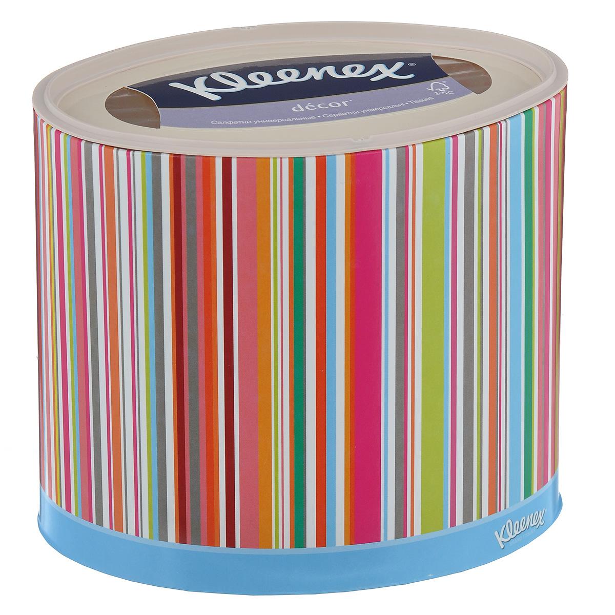 Салфетки универсальные Kleenex Decor, трехслойные, 21 см х 20 см, 64 шт (упаковка полоска)26083186_полоскаТрехслойные, мягкие, гигиенические салфетки Kleenex Decor изготовлены из высококачественного, экологически чистого сырья - 100% целлюлозы. Салфетки обладают большой впитывающей способностью. Не вызывают аллергию, не раздражают чувствительную кожу. Благодаря уникальной мягкости, салфетки заботятся о вашей коже во время простуды. Просты и удобны в использовании. Применяются дома и в офисе, на работе и отдыхе. Для хранения салфеток предусмотрена специальная коробочка. Новый и уникальный формат салфеток на российском рынке - овал! Красивый и модный дизайн упаковки, соответствующий последним трендам в дизайне интерьера. Настоящий премиум продукт по форме и содержанию. Товар сертифицирован. Комплектация: 64 шт. Размер салфетки: 21 см х 20 см.