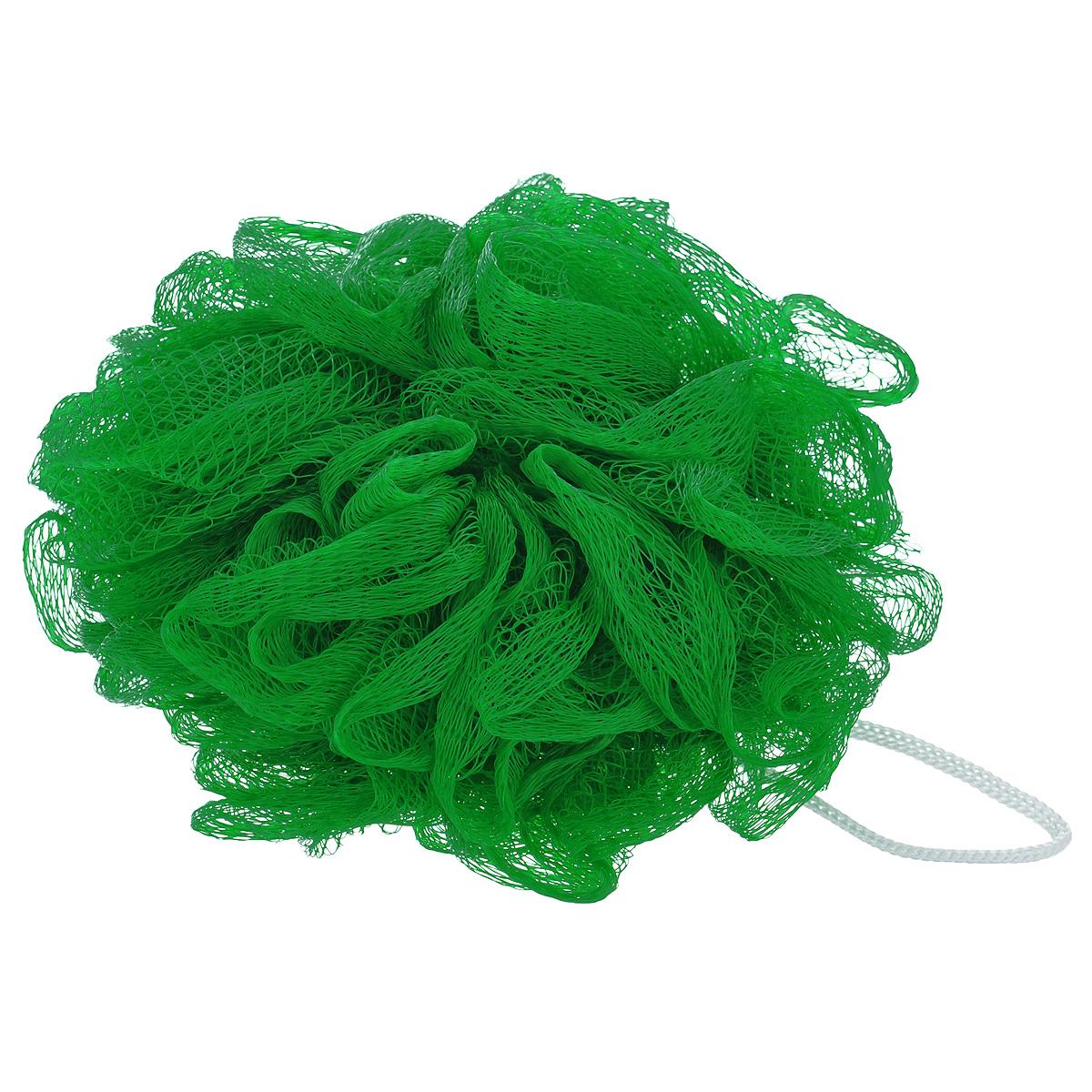 """Мочалка массажная Eva """"Бантик"""", средней жесткости, цвет: зеленый, диаметр 12 см"""