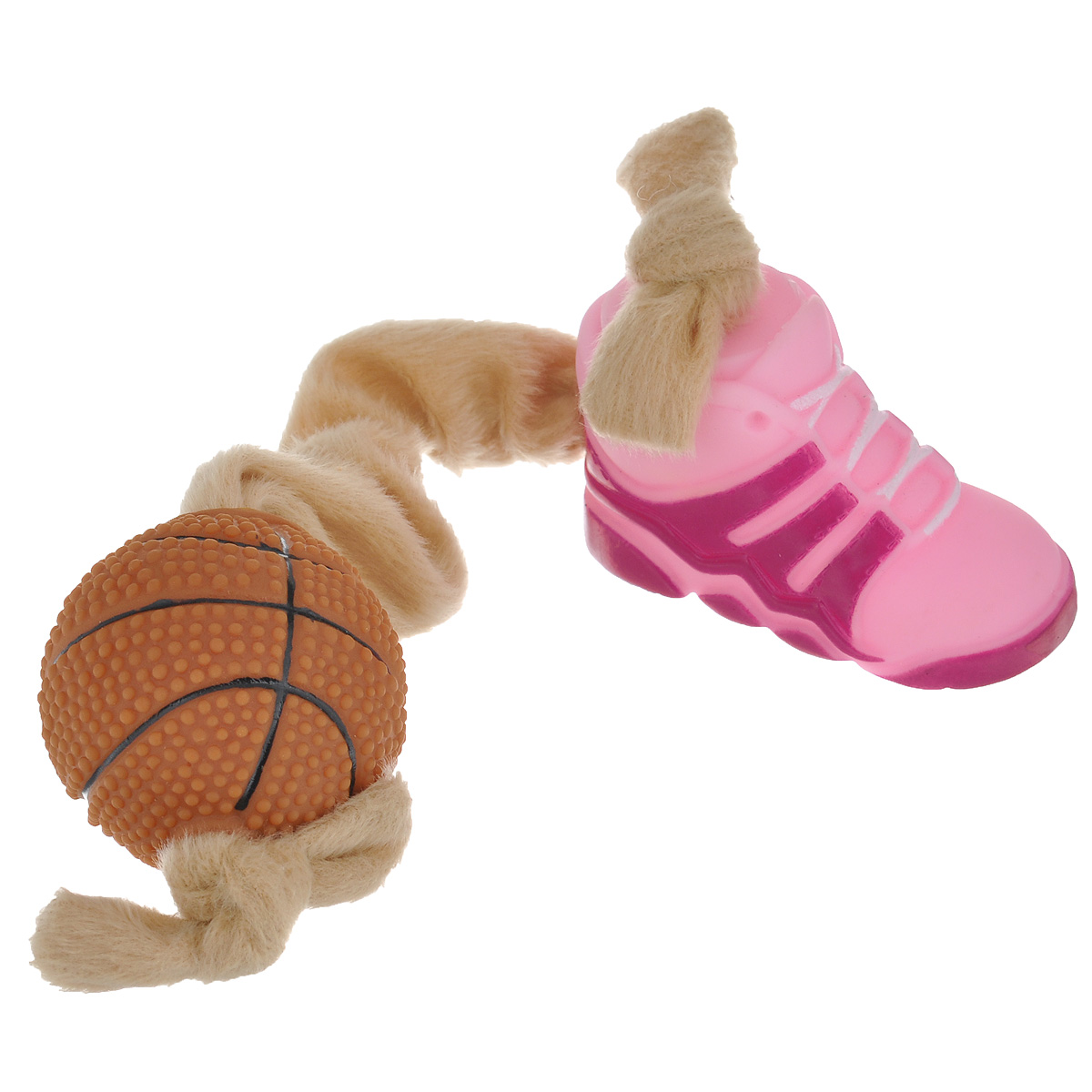 Игрушка для собак I.P.T.S. Ботинок и мяч, цвет: розовый, бежевый16269/620166Игрушка I.P.T.S. Ботинок и мяч, изготовленная из текстиля и резины, выполнена в виде мяча с одной стороны и ботинка с другой. Эластичная веревка позволяет собаке активно играть. Такая игрушка не навредит здоровью вашего питомца и увлечет его на долгое время.Общая длина игрушки: 24-32 см. Диаметр мяча: 5 см. Размер ботинка: 7,5 см х 4 см х 5,5 см.