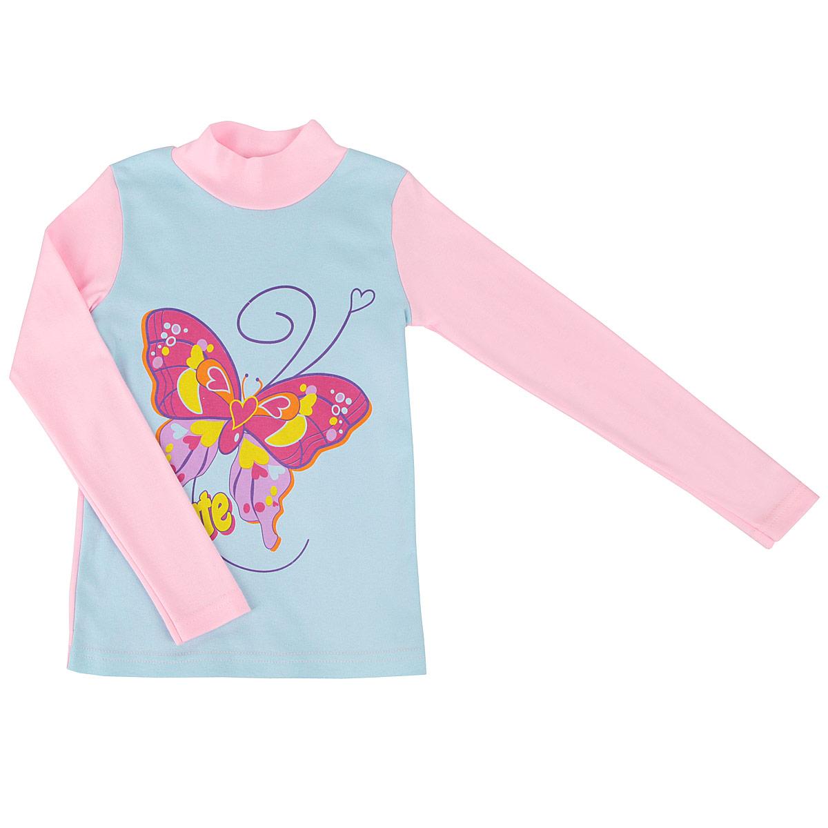 Водолазка для девочки КотМарКот, цвет: голубой, розовый. 13200_бабочка. Размер 128, 8 лет13200_бабочкаОчаровательная водолазка для девочки КотМарКот идеально подойдет вашей малышке. Изготовленная из интерлока - натурального хлопка, она необычайно мягкая и приятная на ощупь, не сковывает движения малышки и позволяет коже дышать, не раздражает даже самую нежную и чувствительную кожу ребенка, обеспечивая ему наибольший комфорт. Водолазка с длинными рукавами и небольшим воротником-стойкой спереди оформлена ярким принтом с крупным изображением бабочки. Оригинальный современный дизайн и расцветка делают эту водолазку модным и стильным предметом детского гардероба. В ней ваша маленькая принцесса будет чувствовать себя уютно и комфортно и всегда будет в центре внимания!