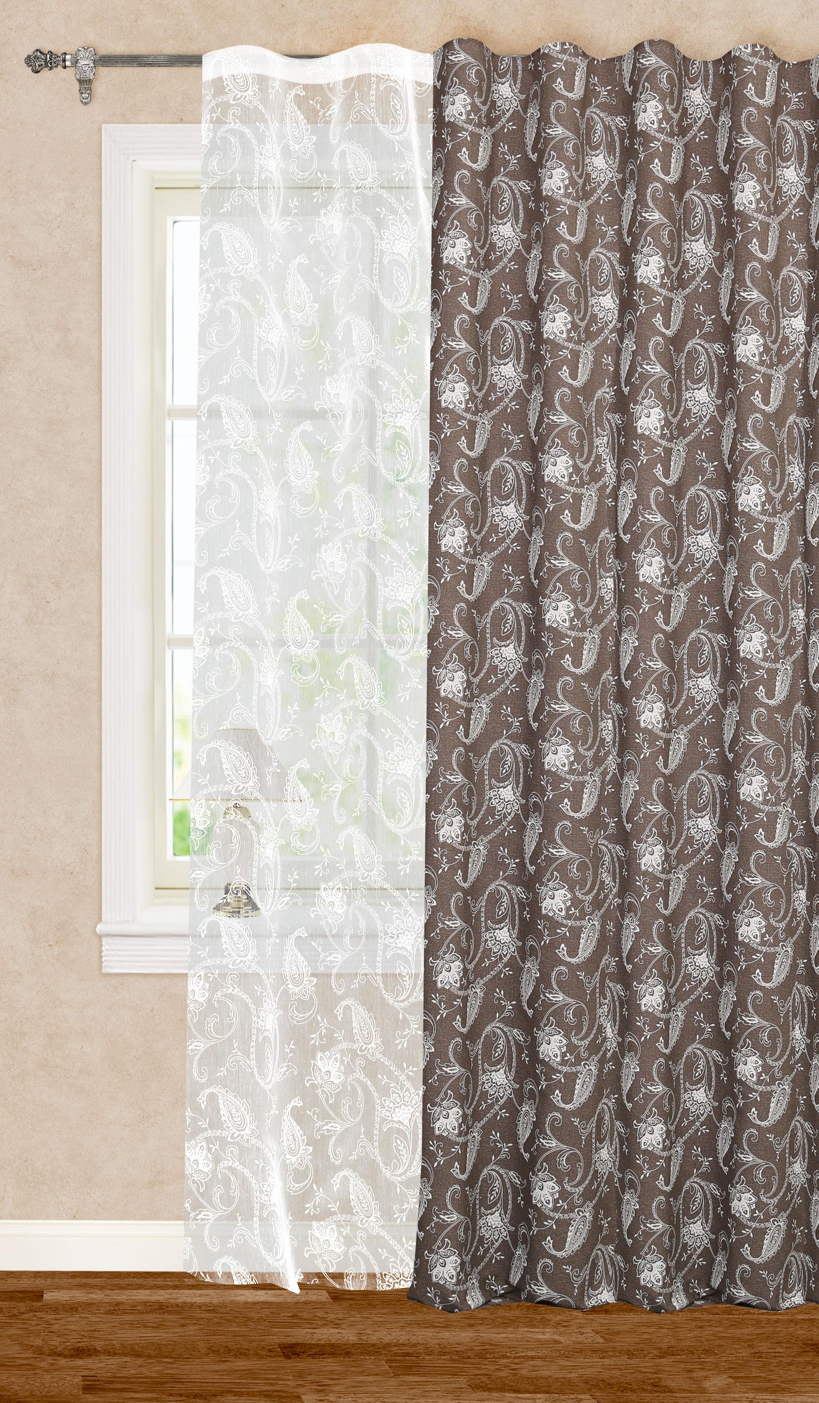 Штора готовая для гостиной Garden, на ленте, цвет: белый, коричневый, размер 200*260 см. С11001-W2001V11