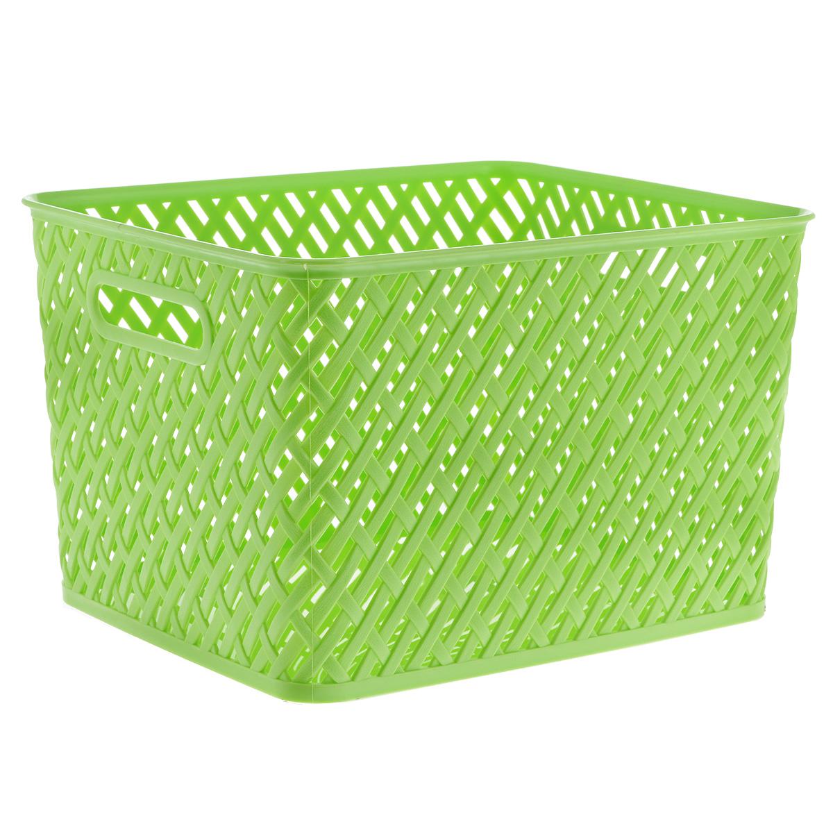 Корзина Альтернатива Плетенка, цвет: салатовый, 35 х 29 х 22,5 смМ3492Прямоугольная корзина Плетенка изготовлена из высококачественного пластика и декорирована перфорацией. Она предназначена для хранения различных мелочей дома или на даче. Позволяет хранить мелкие вещи, исключая возможность их потери. Корзина очень вместительная. Элегантный выдержанный дизайн позволяет органично вписаться в ваш интерьер и стать его элементом.