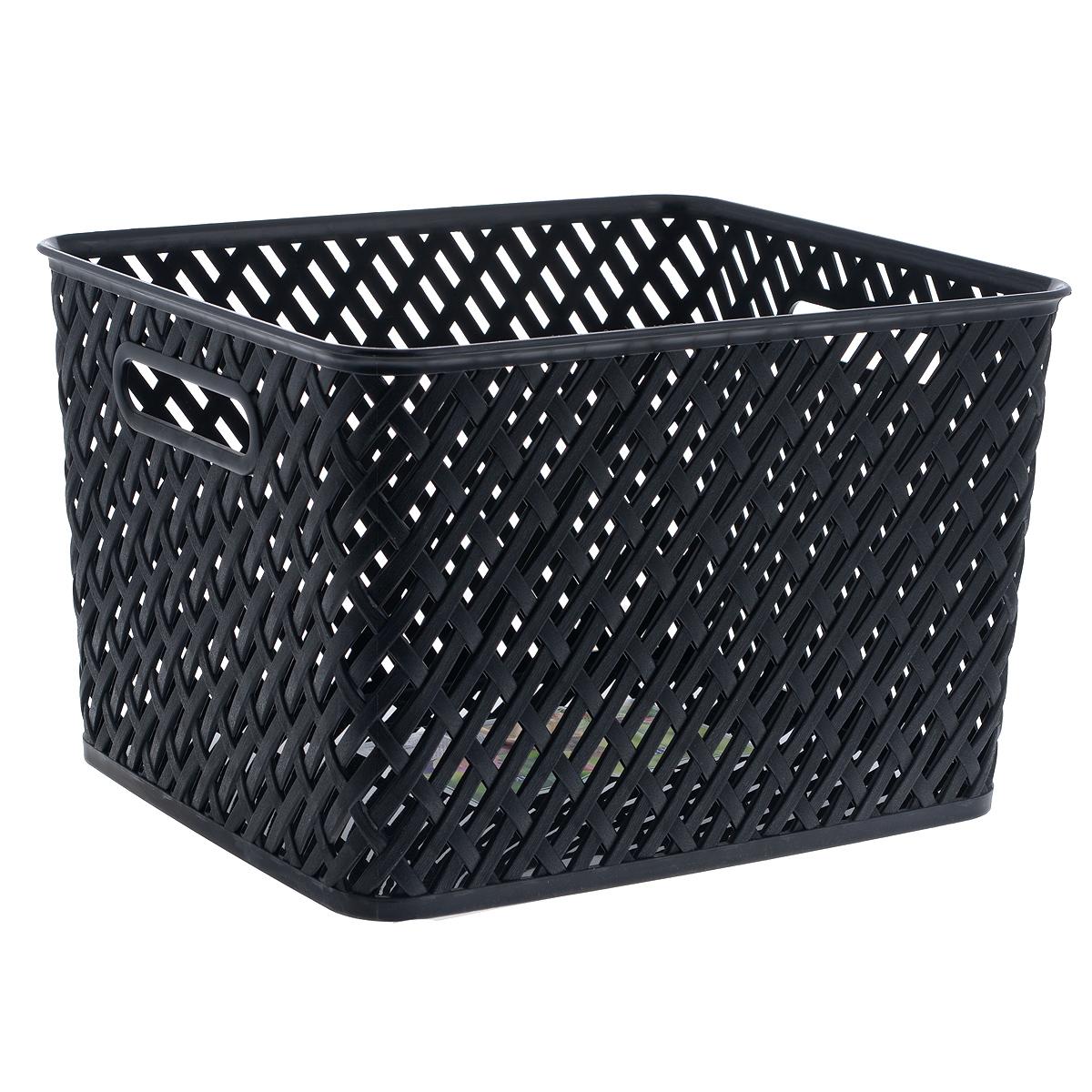 """Прямоугольная корзина """"Плетенка"""" изготовлена из высококачественного пластика и декорирована перфорацией. Она предназначена для хранения различных мелочей дома или на даче. Позволяет хранить мелкие вещи, исключая возможность их потери.   Корзина очень вместительная. Элегантный выдержанный дизайн позволяет органично вписаться в ваш интерьер и стать его элементом."""