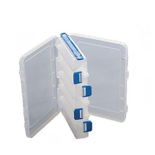 Коробка рыболовная пластиковая Salmo двухсторонняя 07, цвет: белый с синим1501-07Двусторонняя коробка с отсеками для хранения рыболовных приманок станет надежной помощницей в Вашем любимом занятии. Множество отделений и ручка для переноски позволят Вам получить еще больше удовольствия от рыбалки.