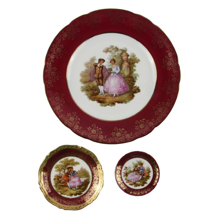 Комплект тарелок Влюбленные от Limoges. Фарфор, роспись, деколь. Limoges, Франция, вторая половина XX века louane limoges