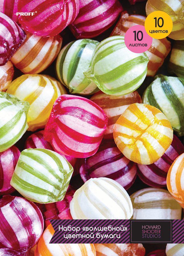 Набор цветной бумаги Proff Сладости, формат A4, 10 цветовHS15-CPS10Набор цветной бумаги Proff Сладости содержит 10 листов бумаги различных насыщенных цветов.Создание поделок из цветной бумаги - это увлекательнейший процесс, способствующий развитию фантазии и творческого мышления.Набор упакован в картонную папку с цветным изображением сладостей.