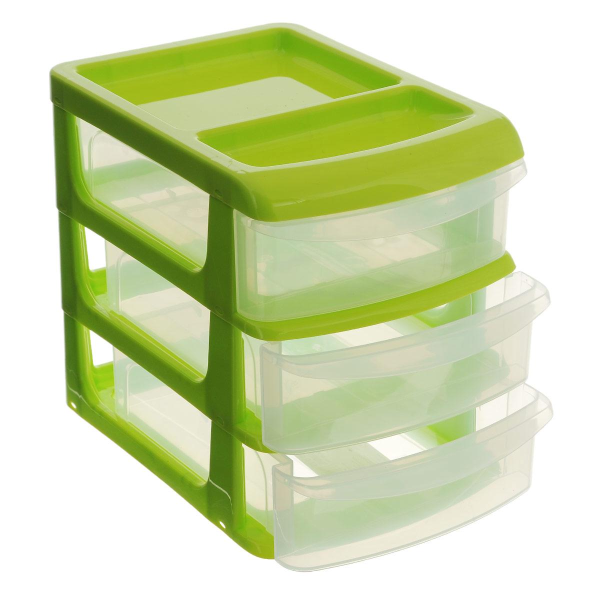 Бокс универсальный Idea, 3 секции, цвет салатовый, 20 см х 14,5 см х 18 см контейнер для мелочей econova multi box с ручкой 2 секции 24 5 см х 16 см х 10 5 см