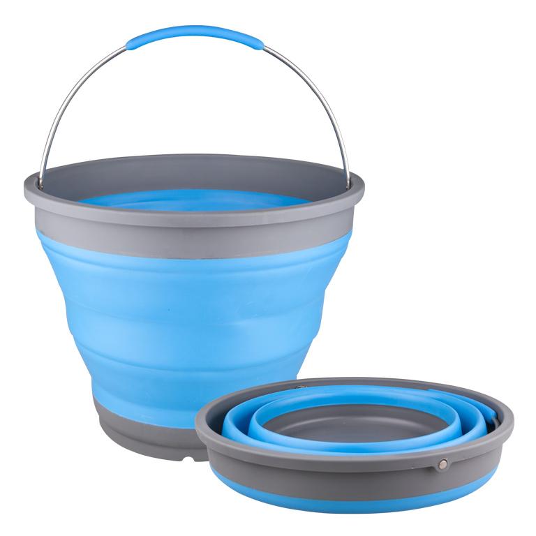 Ведро складное Miolla, цвет: голубой, серый, 7 л2503004UСкладное ведро Miolla изготовлено из термопластичной резины и пластика. Благодаря гибкости и пластичности материала, ведро легко складывается и раскладывается. В сложенном состоянии занимает минимум места. Пластиковые вставки отлично держат форму изделия. Ведро прекрасно подходит для хранения различных бытовых вещей и других предметов. Для удобной переноски имеется металлическая ручка с резиновой вставкой. Такое практичное и функциональное ведро пригодится в любом хозяйстве. Диаметр ведра (по верхнему краю): 28 см.Высота ведра (в разобранном виде): 22 см.Высота ведра (в сложенном виде): 4,5 см.