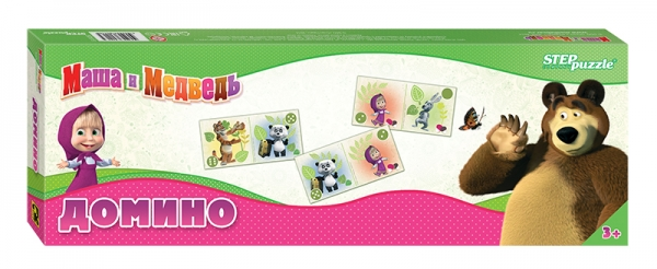Step Puzzle Домино Маша и Медведь набор step puzzle пластиковых кубиков анимаккорд 9шт маша и медведь
