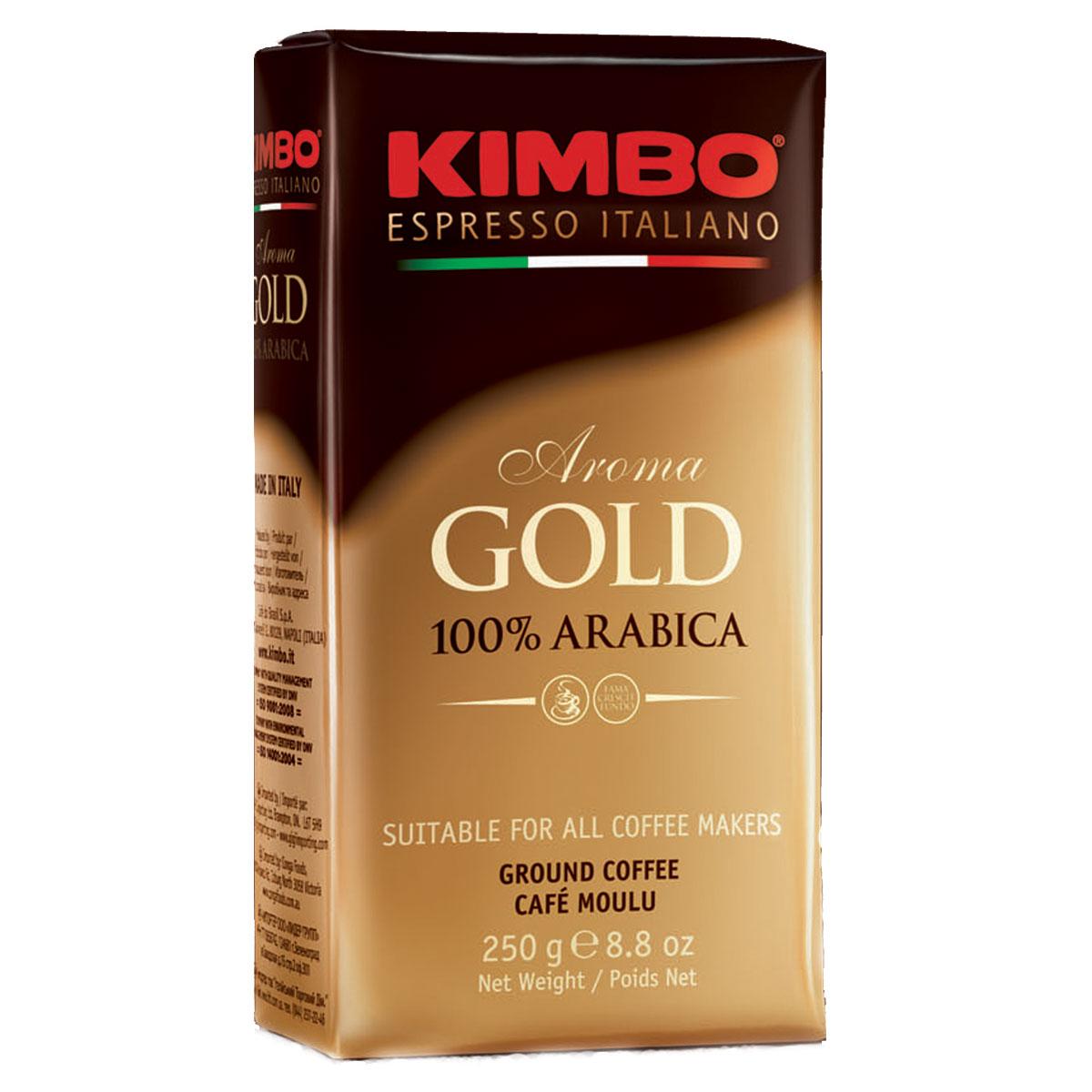 Kimbo Aroma Gold 100% Arabica кофе молотый, 250 г8002200102111Натуральный жареный молотый кофе Kimbo Aroma Gold 100% Arabica. Смесь превосходной арабики отличается нежным вкусом, мягкой кислинкой и тонкимароматом. Состав смеси: 100% арабика.