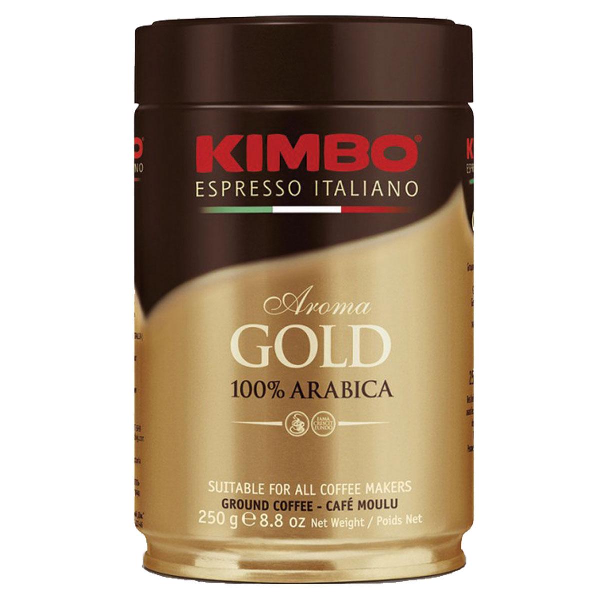 Kimbo Aroma Gold 100% Arabica кофе молотый, 250 г (ж/б)8002200102128Натуральный жареный молотый кофе Kimbo Gold 100% Arabica. Смесь превосходной арабики отличается нежным вкусом, мягкой кислинкой и тонкимароматом. Состав смеси: 100% арабика.