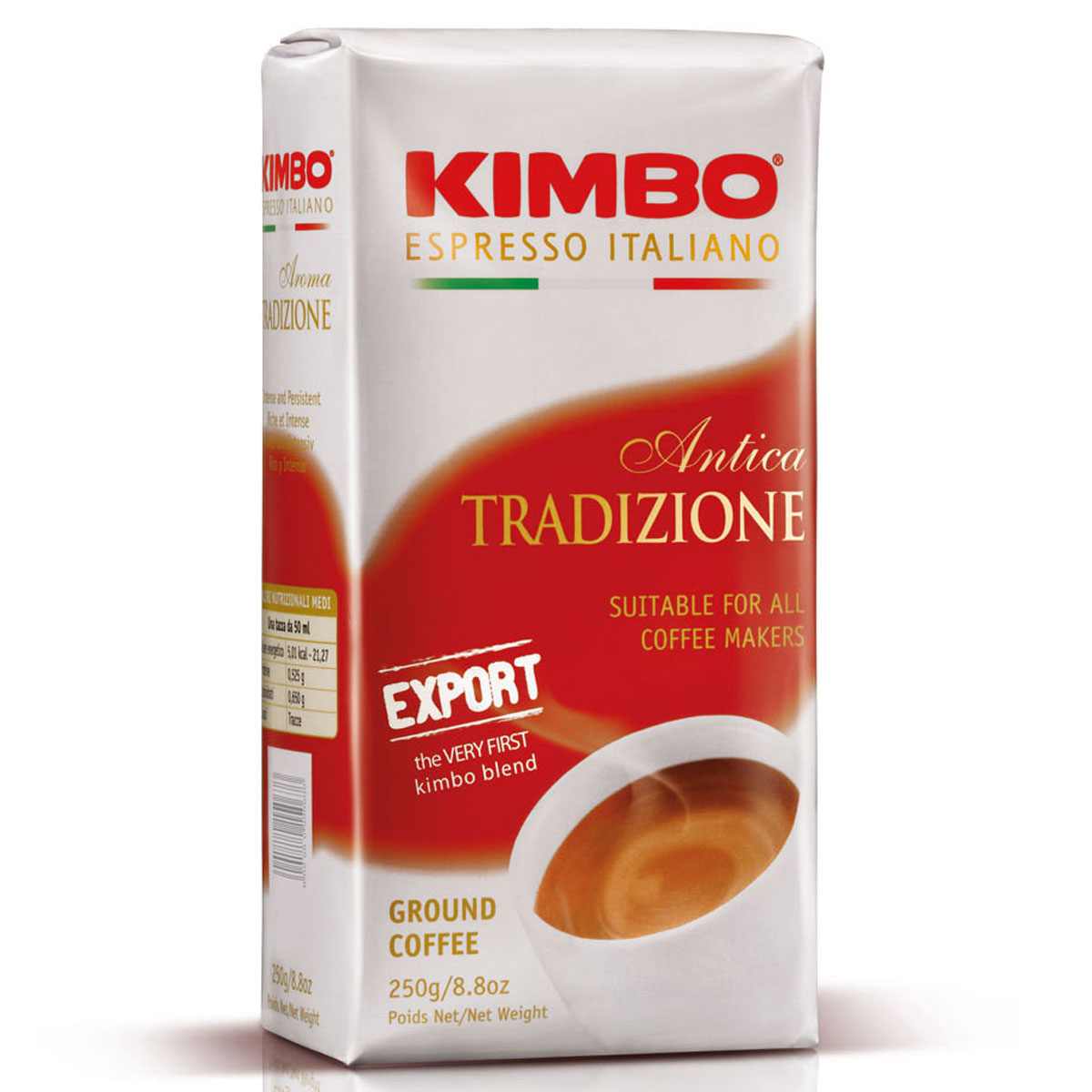 Kimbo Antica Export кофе молотый, 250 г8002200163273Натуральный жареный молотый кофе Kimbo Antica Export. Этот купаж напоминает Espresso Neapolitano, но является более мягким и чуть менее интенсивным по вкусу. Позволяет приготовить насыщенный и вкусный эспрессо. Смесь содержит 95% арабики и 5% робусты.
