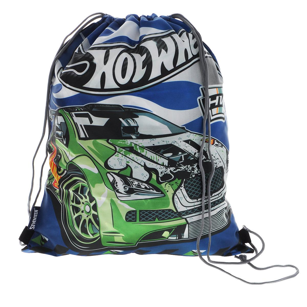 Hot Wheels Сумка-рюкзак для обуви цвет темно-синий зеленый HWCB-UT1-883HWCB-UT1-883Сумка для сменной обуви Hot Wheels идеально подходит как для хранения, так и для переноски сменной обуви и одежды.Сумка выполнена из прочного водонепроницаемого полиэстера и содержит одно вместительное отделение, затягивающееся с помощью текстильных шнурков. Шнурки фиксируются в нижней части сумки, благодаря чему ее можно носить за спиной как рюкзак.