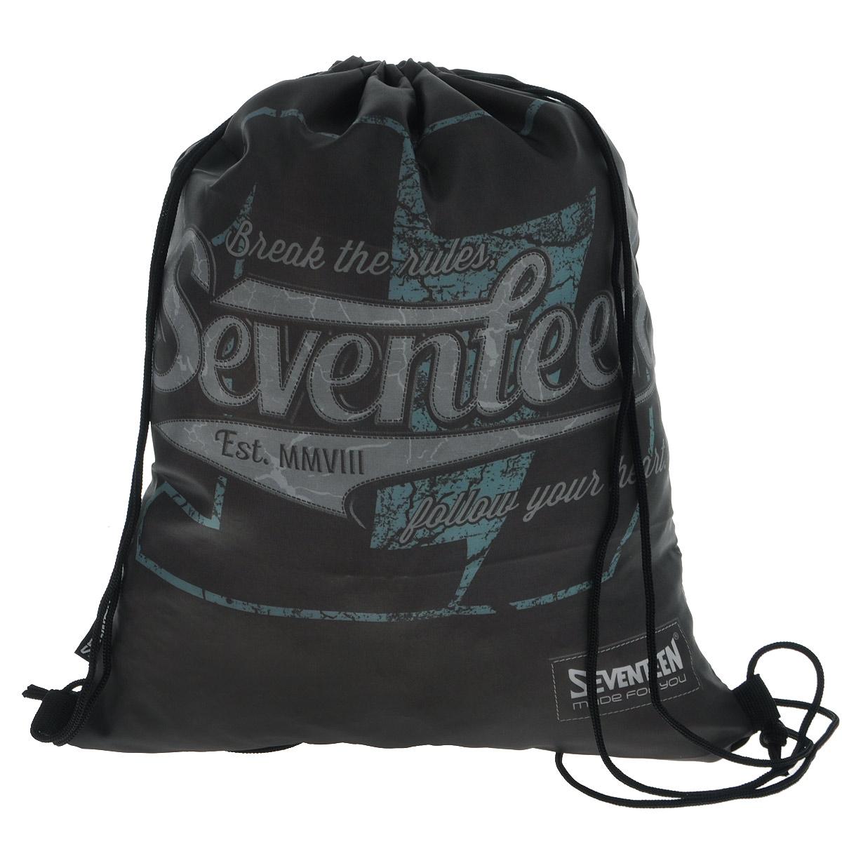 Seventeen Сумка-рюкзак для обуви цвет черный SVCB-RT4-883SVCB-RT4-883Сумка для сменной обуви Seventeen идеально подходит для хранения, для переноски сменной обуви и одежды.Сумка выполнена из прочного водонепроницаемого полиэстера и содержит одно вместительное отделение, затягивающееся с помощью текстильных шнурков. Шнурки фиксируются в нижней части сумки, благодаря чему ее можно носить за спиной как рюкзак. Ваш ребенок с радостью будет ходить с таким аксессуаром в школу.