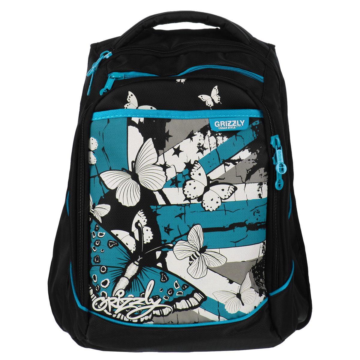 Рюкзак детский Grizzly, цвет: черный, бирюзовый. RD-526-1RD-526-1/1Рюкзак с двумя отделениями, карманом на передней стенке на молнии, дополнительным карманом в переднем отделении, боковыми карманами с сеткой, карманом-пеналом, укрепленными лямками и спинкой