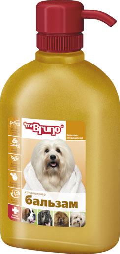 Бальзам-кондиционер для собак Mr. Bruno, 350 млMB05-00660Уникальная увлажняющая формула бальзама-кондиционера Mr. Bruno эффективно ухаживает за сухой, ломкой, спутанной шерстью. Касторовое масло, входящее в состав бальзама, обладает бактерицидными свойствами. Содержащаяся в масле рицинолевая кислота защищает шерсть от микробных и грибковых инфекций, которые, как правило, приводят к выпадению шерсти. Бальзам способствует восстановлению защитного слоя и регенерации кожи, ее естественному влагосодержанию, питает кожу и шерсть, обеспечивая длительный эффект. Шерсть становится более послушной, легко расчесывается, приобретает свой естественный блеск. Кондиционер имеет приятный аромат зелёного чая.Товар сертифицирован.