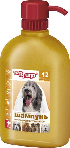 Шампунь-кондиционер для собак Mr. Bruno, дезодорирующий, от специфического запаха, 350 мл mr bruno mr bruno plus капли инсектоакарицидные для собак более 40 кг