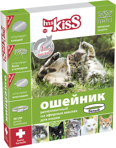 Ошейник для кошек Мисс Кисс, репеллентный, цвет: белый, длина 38 смMK05-00190Ошейник репеллентный для кошек Мисс Кисс - безопасное и эффективное средство на основе натуральных эфирных масел цитронеллы и лаванды для отпугивания эктопаразитов кошек. Легко регулируется, поэтому подойдет как котятам с 1-го месяца жизни, так и взрослым кошкам. Эффективен в течение всего сезона, 3-х месяцев. Отпугивает блох, комаров, клещей, власоедов. Длина ошейника 38 см.