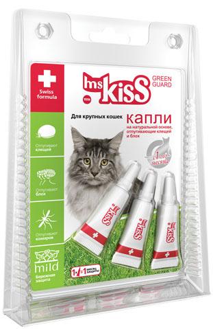 Капли репеллентные Мисс Кисс для крупных кошек весом более 2 кг, 3 шт х 2,5 мл