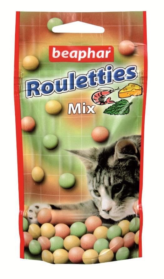 Лакомство для кошек Beaphar Rouletties Mix, цвет: оранжевый, зеленый, 80 шт13184Лакомство Beaphar Rouletties Mix с креветками, сыром и кошачьей мятой для кошек очень вкусно и полезно. Оно содержит витамины, минералы и микроэлементы. Улучшает настроение, а также помогает уберечь кошку от стрессов. Применяется в качестве лакомства для кошек, начиная с 6-месячного возраста. Состав: молоко и молочные продукты, сахар, минералы, мясо и мясопродукты (более 4% ливер), рыба и рыбопродукты (более 4% креветок). Анализ: протеин (8,8%), жиры (2,8%), клетчатка (7,4%), зола (12,8%), влага (4,7%), кальций (1,8%), фосфор (1,3%), натрий (0,2%).Добавки: микрокристаллическая целлюлоза Е 460, стеарат кальция E 470. Количество в упаковке: 80 шт. Товар сертифицирован.