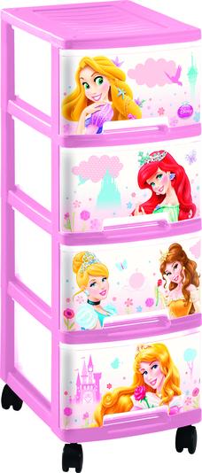 Комод детский 4 ящика по 10л.26,4х35,1х67,5см.66_Princess NewPrincess New