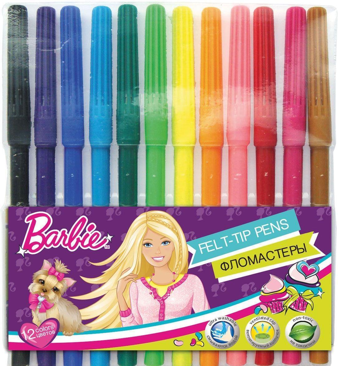 Набор цветных фломастеров, 12 шт Barbie