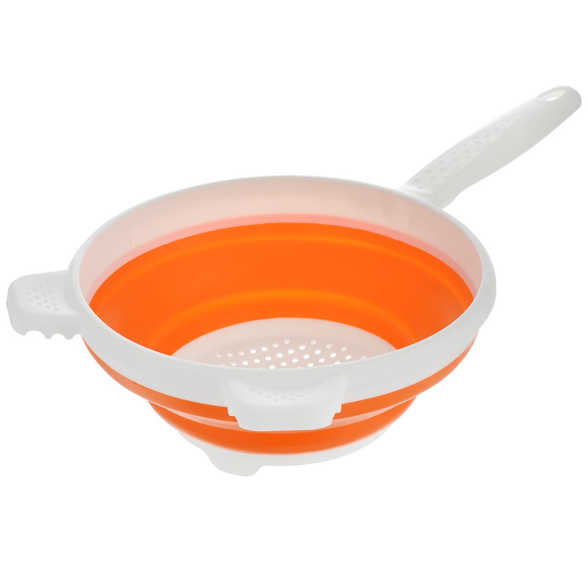 Дуршлаг складной Apollo, цвет: белый, оранжевый, диаметр 19,5 смCLD-01_оранжевыйСкладной дуршлаг Apollo станет полезным приобретением для вашей кухни. Он изготовлен из высококачественного пищевого силикона и пластика. Дуршлаг оснащен удобной эргономичной ручкой со специальным отверстием для подвешивания. Изделие прекрасно подходит для процеживания, ополаскивания и стекания макарон, овощей, фруктов. Дуршлаг компактно складывается, что делает его удобным для хранения.Не рекомендуется мыть в посудомоечной машине.Диаметр по верхнему краю: 19,5 см.Максимальная высота: 8 см.Минимальная высота: 3 см.Длина ручки: 13 см.Длина ручки: 15 см.