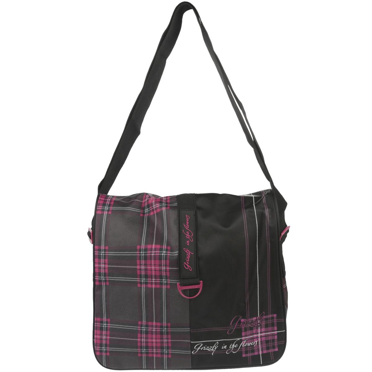 Сумка молодежная Grizzly Purple cross, цвет: черный, розовый. MD-521-2MD-521-2/6Молодежная сумка с двумя отделениями на молнии и закрывающаяся клапаном на липучки, со сложной передней стенкой с множеством карманов и пеналом, с внутренним карманом на молнии, с регулируемым ремнем.