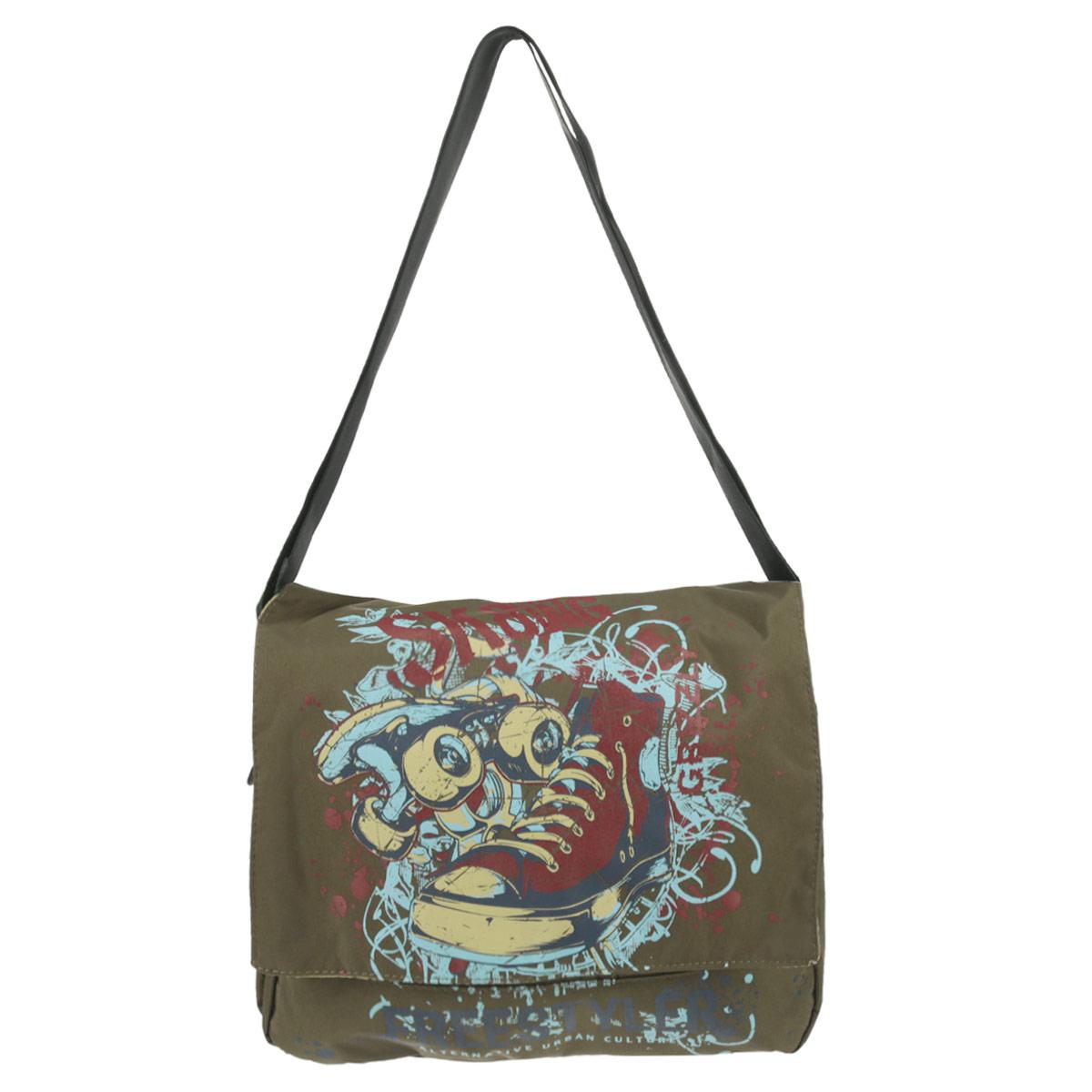 Сумка школьная Grizzly, цвет: оливковый. MM-426-2MM-426-2/1Молодежная сумка с двумя отделениями, клапаном, плоскими карманами на передней и задней стенках, внутренним карманом, с регулируемым плечевым ремнем