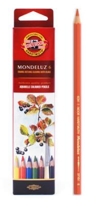 Набор карандашей акварельных MONDELUZ, 6 цв3715/6Цветные акварельные (размываемые водой) карандаши. Яркие и насыщенные цвета, линии мягко ложатся на бумагу. Грифель устойчив к механическим деформациям, легко затачивается. Древесина - кедр. Покрытие - цветной лак на водной основе, тиснение золотом.