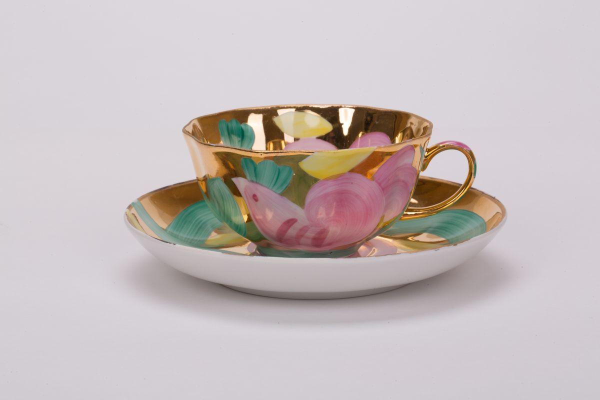 Чашка чайная Дулевский Фарфор Тюльпан. Розовая птица, с блюдцем, 220 мл ювелирные кольца магия золота кольцо с бриллиантом и топазом