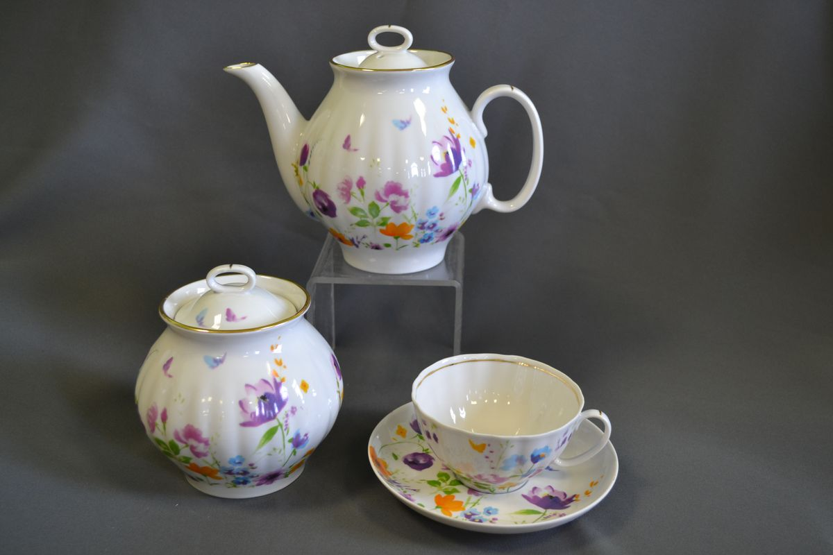 Сервиз чайный 14 пред. Белый лебедь Акварелька alex чайный сервиз поймай бабочку