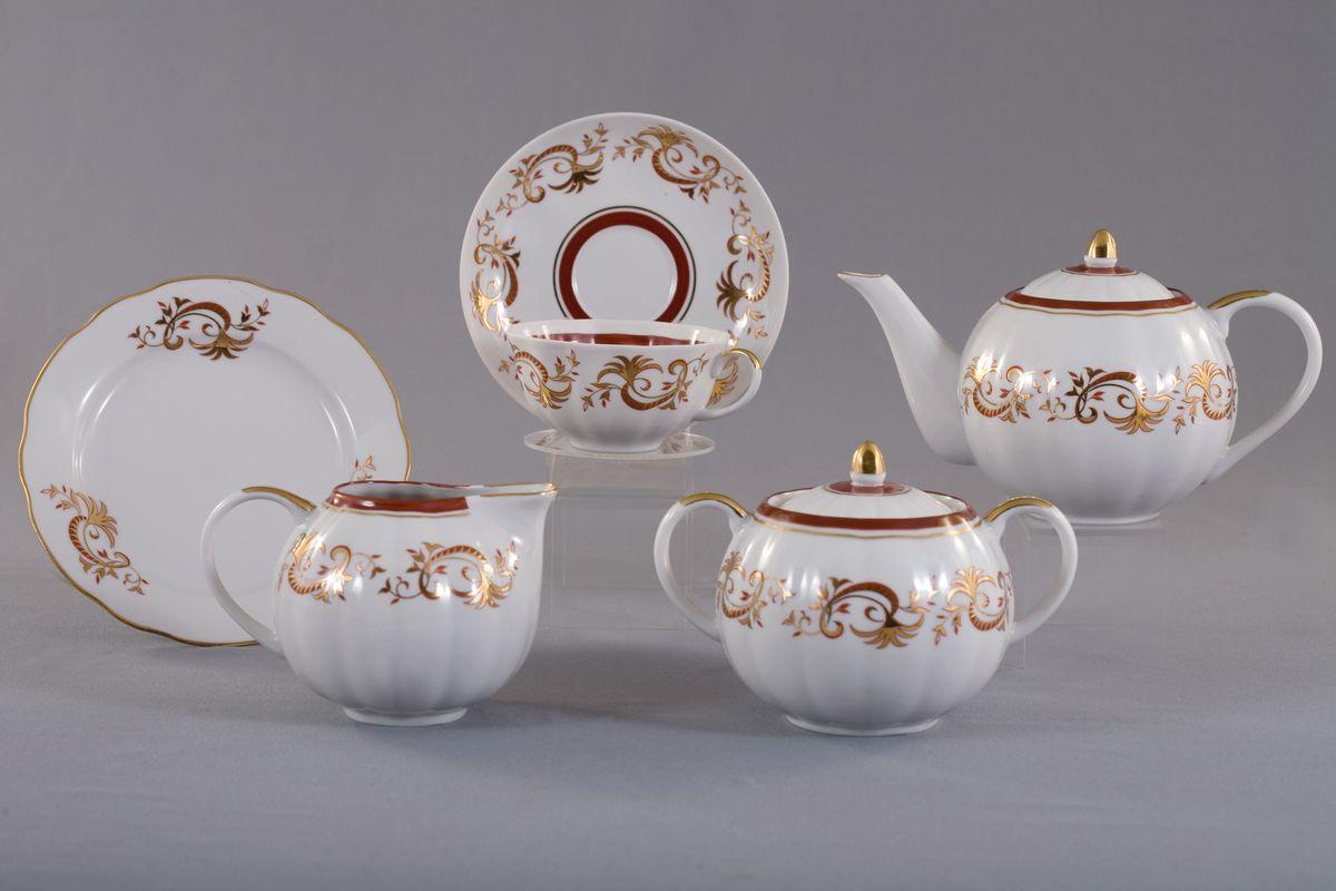 Сервиз чайный 21 предм .Тюльпан Золотое кружево21181Сервиз чайный 21 предм .Тюльпан Золотое кружево фарфор