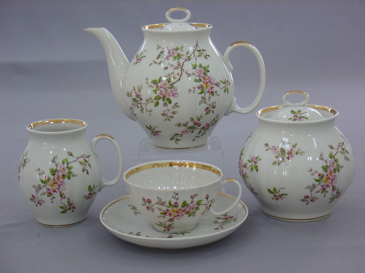 Сервиз чайный 15 пред .Белый лебедь Цветение alex чайный сервиз поймай бабочку