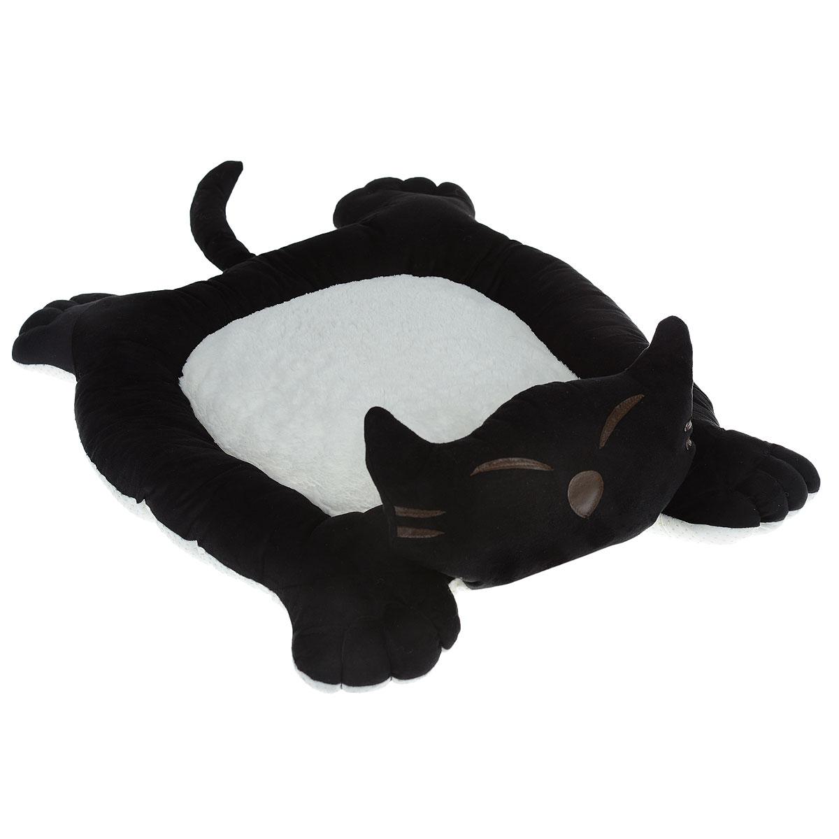 Лежак для собак и кошек I.P.T.S. Sylvester, цвет: черный, белый, 56 см х 44 см х 14,5 см19208_черный/белыйМягкий и уютный лежак для кошек и собак I.P.T.S. Sylvester обязательно понравится вашему питомцу. Лежак выполнен в виде кота. Он изготовлен из нежного, приятного материала. Внутри - мягкий наполнитель, который не теряет своей формы долгое время.Мягкий, приятный и теплый лежак обеспечит вашему любимцу уют и комфорт. Подходит как для кошек, так и для маленьких, карликовых пород собак.За изделием легко ухаживать, можно стирать вручную или в стиральной машине при температуре 30°С. Материал бортиков: искусственная замша.Материал матрасика: плюш.Наполнитель: полифибер.Товар сертифицирован.