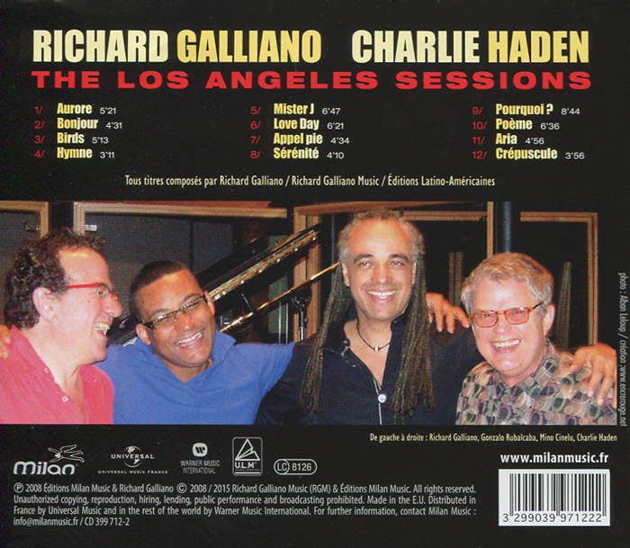 Richard Galliano / Charlie Haden.  The Los Angeles Sessions Warner Music,Milan Records