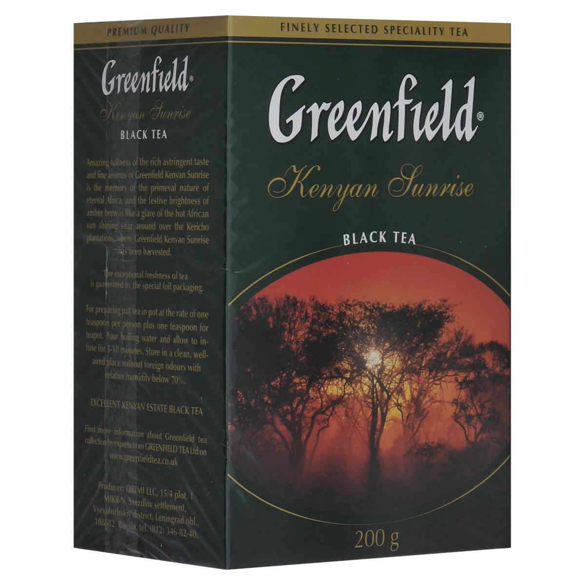Greenfield Kenyan Sunrise черный листовой чай, 200 г0795-14Высокогорный листовой кенийский чай из района Керичо. Все плантации Керичо расположены на высоте более 2000 метров над уровнем моря, здесь всегда прохладно и очень влажно за счет ежедневных обильных дождей. Эти климатические особенности создают великолепные условия для роста чайного растения. Кроме того, кенийские чаи ценятся во всем мире как экологически чистые продукты, поскольку выращиваются на большой высоте, в разряженном горном воздухе. Кениан Санрайз отличается своеобразным, очень нежным ароматом, удивительной насыщенностью и особой полнотой янтарного настоя, присущей всем сортам дорогого кенийского чая. Идеально сочетается с молоком.