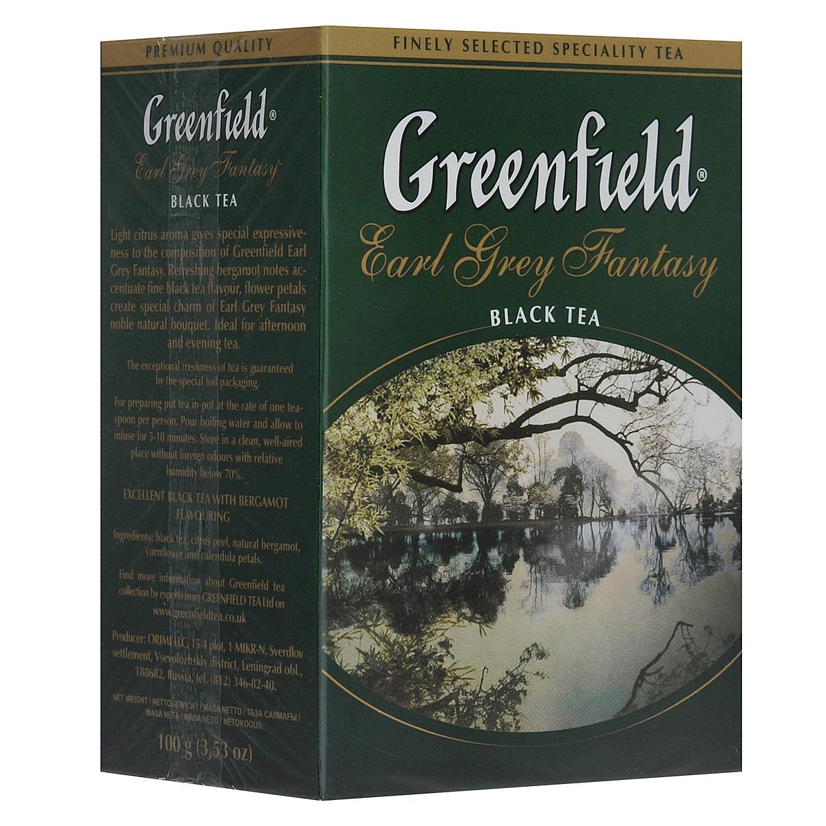 Greenfield Earl Grey Fantasy черный листовой чай, 100 г greenfield blueberry forest черный листовой чай 250 г