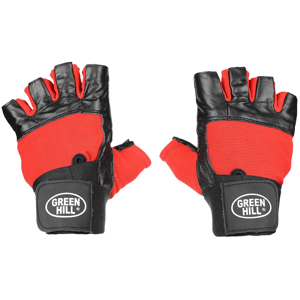 Перчатки тяжелоатлетические Green Hill, цвет: черный, красный. Размер M перчатки для рукопашного боя green hill цвет черный размер xl pg 2045