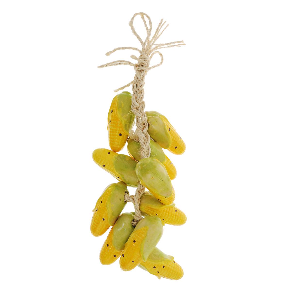 Декоративное украшение для кухни House & Holder Вязанка кукурузыDP-B35-80521Оригинальное декоративное украшение House & Holder Вязанка кукурузы выполнено из керамики и веревки в виде вязанки кукурузы. Такое украшение дополнит интерьер вашей кухни, а также может стать оригинальным сувениром для ваших друзей и близких. Длина вязанки: 45 см.