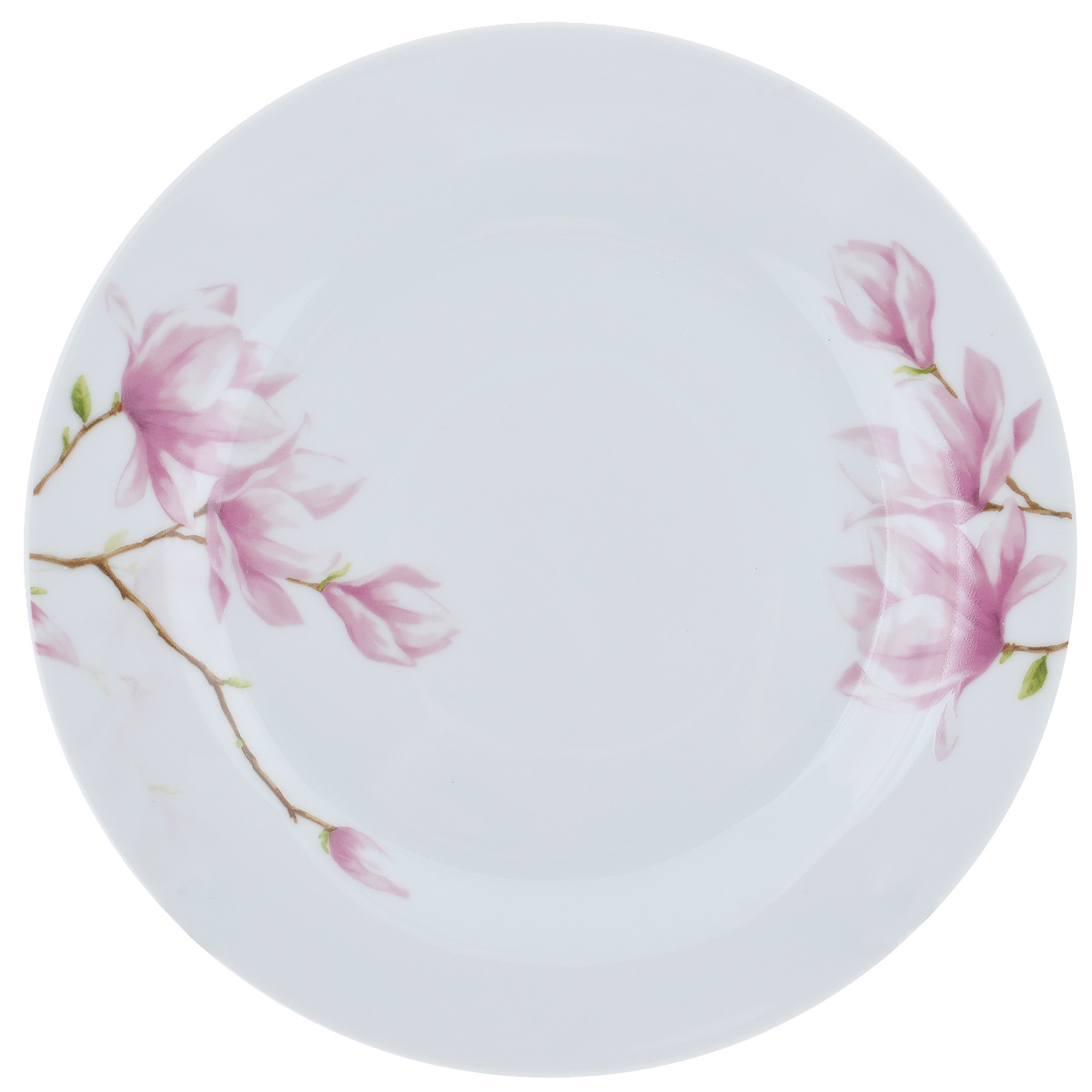 Тарелка для горячего Ваниль, диаметр 23 смDNDSS-B009-1Тарелка Ваниль изготовлена из высококачественного фаянса, покрытого слоем сверкающей глазури. Предназначена для подачи вторых блюд. Изделие декорировано изящным изображением розовых цветов.Такая тарелка украсит сервировку стола и подчеркнет прекрасный вкус хозяйки. Можно мыть в посудомоечной машине и использовать в СВЧ.Диаметр тарелки: 23 см.