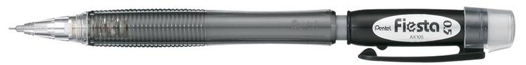 Карандаш автоматический Pentel Fiesta, цвет корпуса: черный. PAX105-APAX105-AАвтоматический карандаш Pentel Fiesta будет вашим незаменимым помощником как в офисе, так и дома. Идеально подойдет для выполнения графических и чертежных работ.Корпус выполнен из прозрачного пластика яркого цвета. Диаметр грифеля - 0,5 мм. Карандаш оснащен ластиком, закрывающимся колпачком и удобным пластиковым клипом. Рельефная резьба обеспечит удобный захват и предотвратит скольжение карандаша при работе. Практичный автоматический карандаш избавит вас от необходимости затачивать карандаши, его стержень всегда будет оставаться острым, а удобный мягкий ластик позволит сразу же исправить любые помарки.