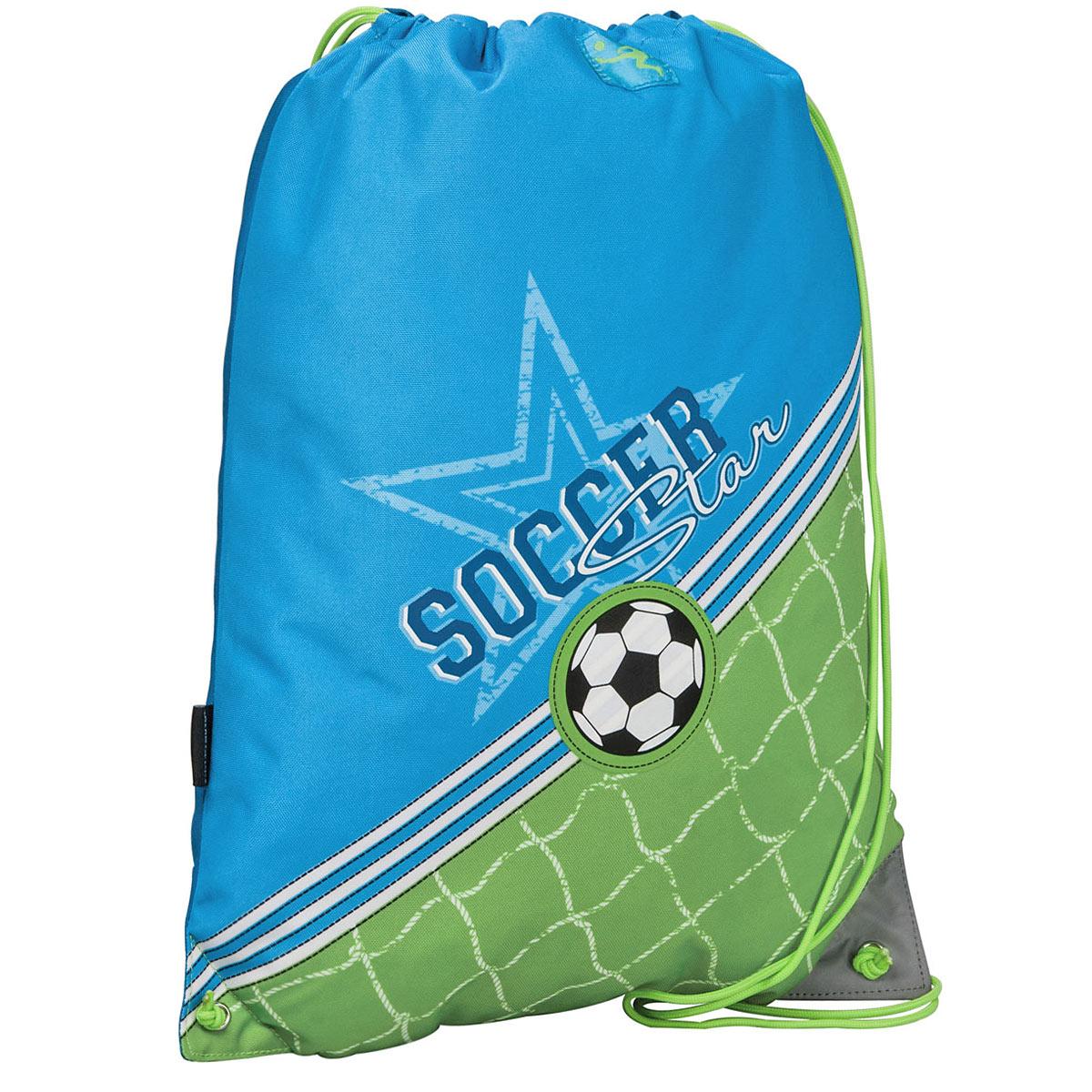 Сумка для сменной обуви Erich Krause Soccer, цвет: голубой, зеленый37173Сумку Erich Krause Soccer удобно использовать как для хранения, так и для переноски сменной обуви. Яркая сумка выполнена из высококачественного прочного полиэстера и оформлена термоаппликацией в виде футбольного мяча и надписью Soccer Star.Сумка затягивается сверху при помощи текстильных шнурков. Шнурки фиксируются в нижней части сумки, благодаря чему ее можно носить за спиной как рюкзак. Светоотражающие вставки на сумке не оставят вашего ребенка незамеченным в темное время суток. Рекомендуемый возраст: от 6 лет.