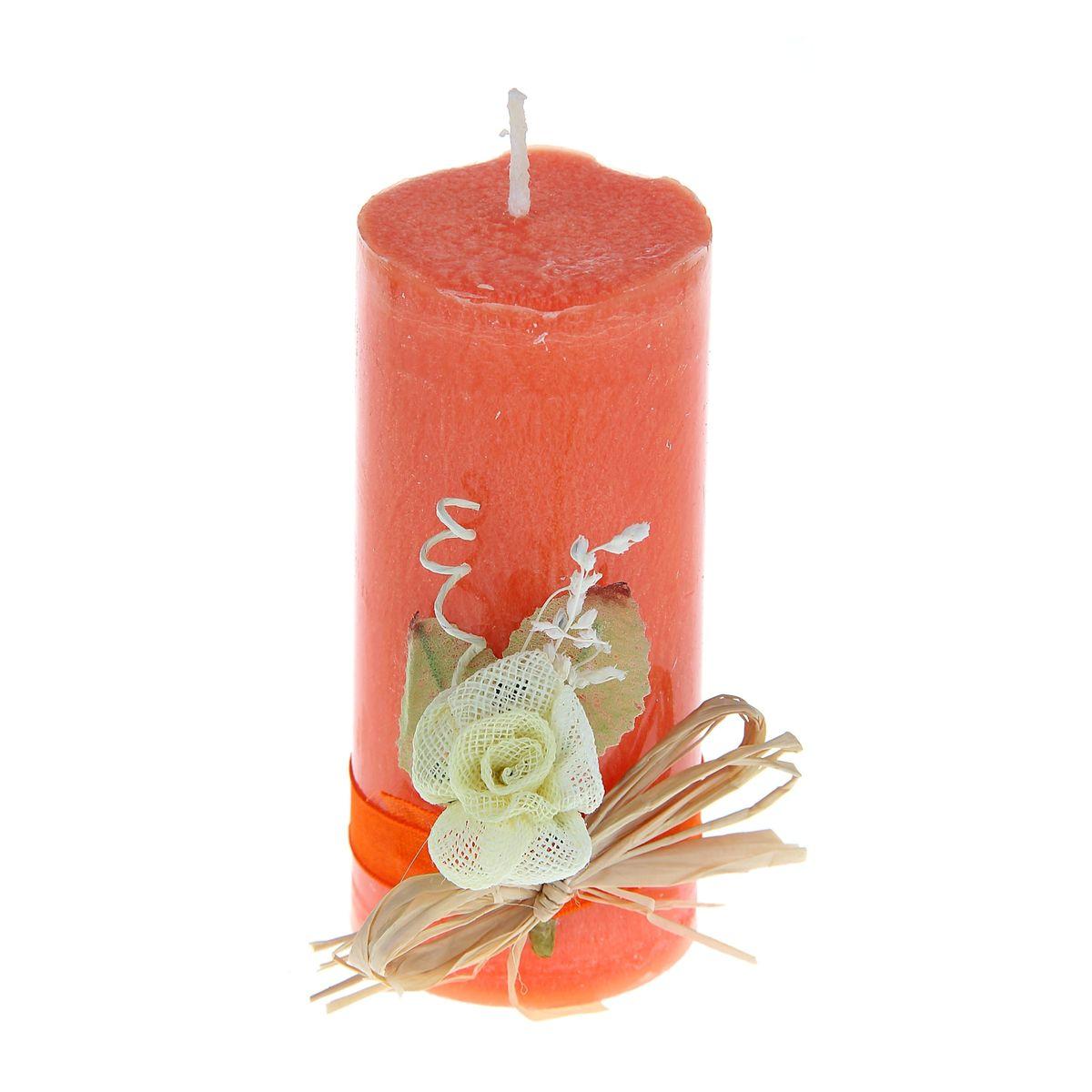 Свеча декоративная Sima-land Цветок, цвет: оранжевый, высота 10,5 см home religion свеча декоративная 50 см цилиндрическая 26003800