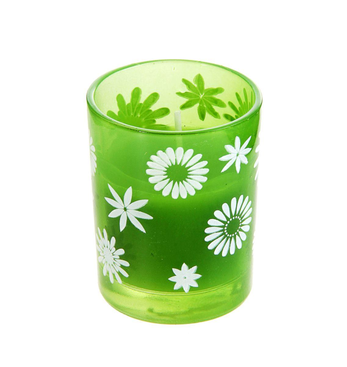 Свеча Sima-land Цветочки, цвет: зеленый, белый, высота 6 см167184Свеча Sima-land Цветочки изготовлена из воска и поставляется в подсвечнике в виде стеклянного стакана, оформленного изображениями цветов. Изделие отличается оригинальным дизайном и изяществом. Такая свеча может стать отличным подарком или дополнить интерьер вашей комнаты.