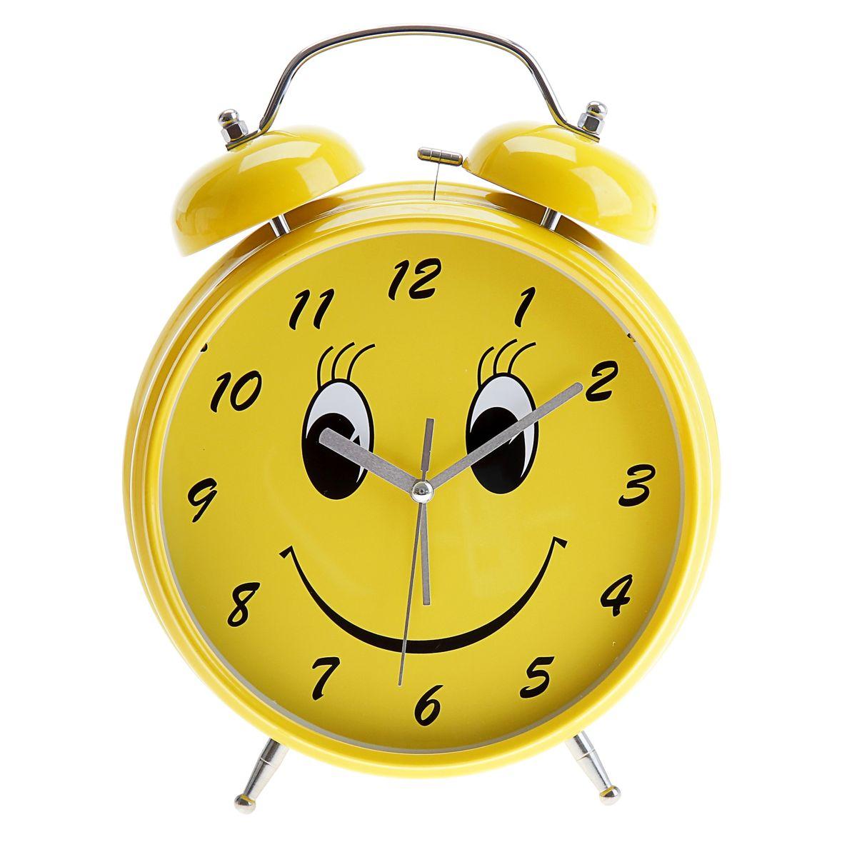 """Часы-будильник Sima-land """"Смайл"""", цвет: желтый, диаметр 20 см"""